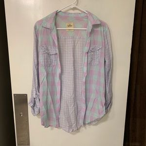 Hollister lavender and mint mixed plaid button up